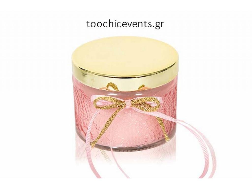 Γυάλινο βαζάκι σε ροζ χρώμα με κερί κεράσι soap tales ST00503 Μπομπονιέρα Βάπτισης  για κορίτσι